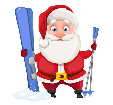 Merry Christmas and Happy New Year. Cheerful Santa Claus standing with skis. Vector illustration on white background