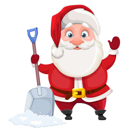 Merry Christmas and Happy New Year. Cheerful Santa Claus holding snow shovel. Vector illustration on white background