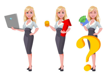 Business woman, set of three poses. Beautiful businesswoman cartoon character holding laptop, holding bitcoins and holding money. Vector illustration