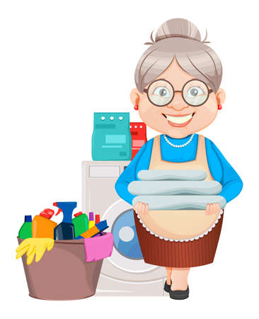 Grandma cartoon character washes clothes. 8 March, Happy Grandparents Day. Old cute woman. Vector illustration.
