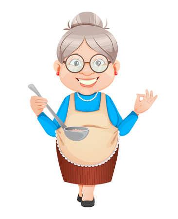 Grandma cartoon character tasting food. 8 March, Happy Grandparents Day. Old cute woman. Vector illustration. Illusztráció