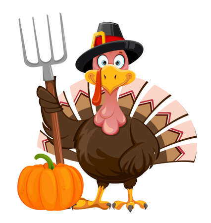 Happy Thanksgiving Day greeting card. Funny cartoon character Thanksgiving Turkey bird holding pitchfork. Vector illustration isolated on white background