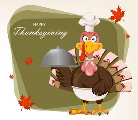 Happy Thanksgiving Day greeting card. Funny cartoon character Thanksgiving Turkey bird chef holding domed tray. Vector illustration