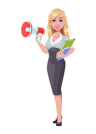 Business woman holding loudspeaker. Beautiful businesswoman cartoon character. Vector illustration on white background