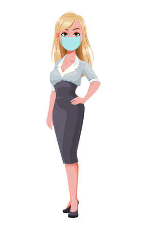 Business woman. Beautiful businesswoman cartoon character in medical mask. Vector illustration on white background
