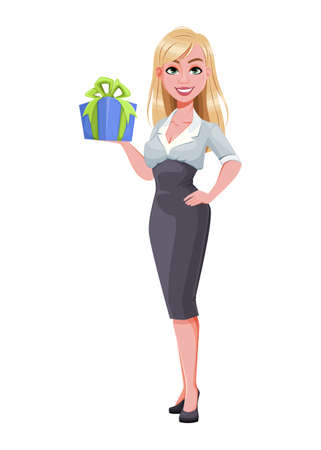 Business woman holding gift box. Beautiful businesswoman cartoon character. Vector illustration on white background