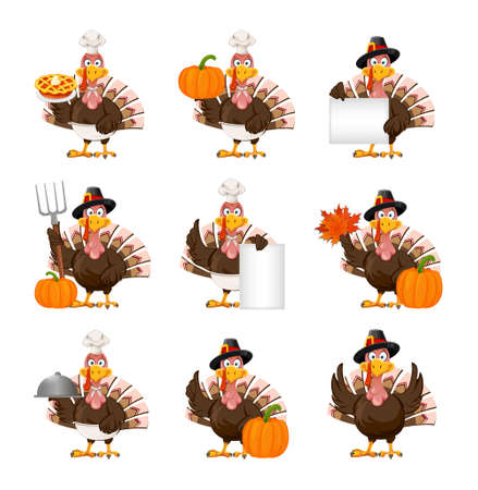 Happy Thanksgiving Day. Funny cartoon character Thanksgiving Turkey bird, set of nine poses. Vector illustration on white background