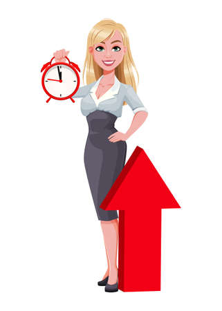 Business woman holding alarm clock. Beautiful businesswoman cartoon character. Vector illustration on white background