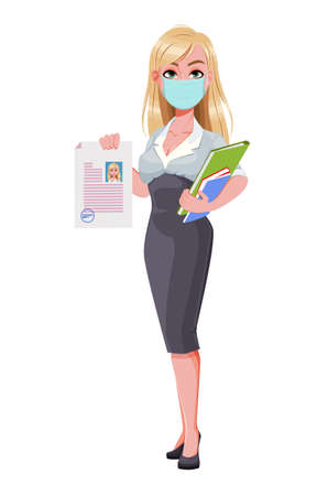 Business woman holding documents. Beautiful businesswoman cartoon character in medical mask. Vector illustration on white background