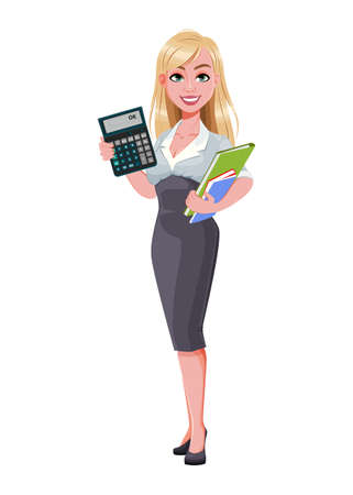 Business woman holding documents and calculator. Beautiful businesswoman cartoon character. Vector illustration on white background