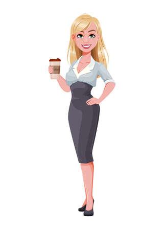Business woman having a coffee break. Beautiful businesswoman cartoon character. Vector illustration on white background Illusztráció