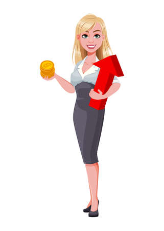 Business woman holding bitcoins and arrow. Beautiful businesswoman cartoon character. Vector illustration on white background