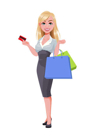 Business woman holding credit card and shopping bags. Beautiful businesswoman cartoon character. Vector illustration on white background
