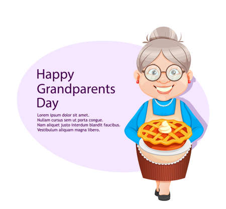 Happy Thanksgiving day greeting card. Grandma cartoon character holding sweet pumpkin pie. 8 March, Happy Grandparents Day. Old cute woman. Vector illustration.
