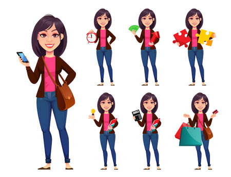 Business woman, set of seven poses. Beautiful businesswoman cartoon character. Vector illustration
