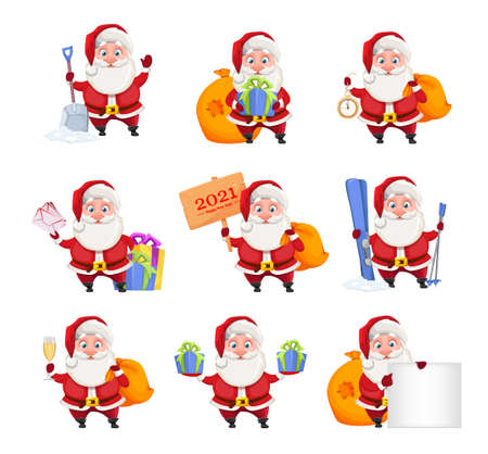 Merry Christmas and Happy New Year. Cheerful Santa Claus, set of nine poses. Vector illustration on white background