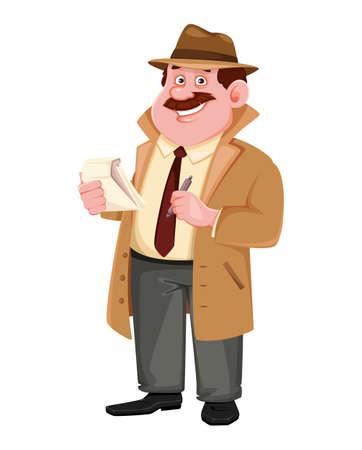 Stock vector detective character making notes. Investigator cartoon character. Vector illustration.