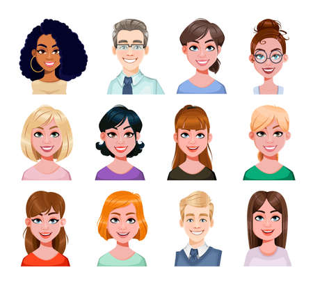 Smiling business people avatar in flat style. Male and female cartoon avatars. Stock vector illustration Vettoriali