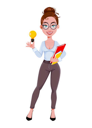 Stock vector. Young beautiful business woman has a good idea. Cute businesswoman cartoon character in flat style. Vector illustration Illusztráció