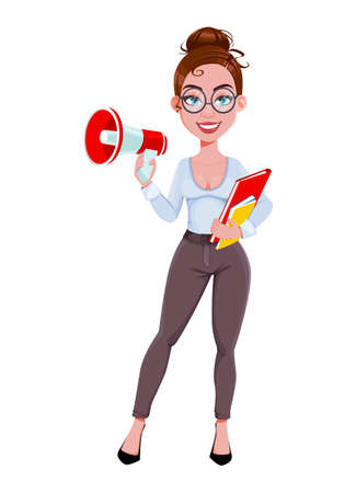 Stock vector. Young beautiful business woman holds loudspeaker. Cute businesswoman cartoon character in flat style. Vector illustration