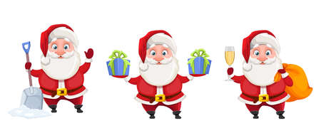 Merry Christmas and Happy New Year. Cheerful Santa Claus cartoon character, set of three poses. Santa with snow shovel, with two gift boxes and with glass of champagne. Vector illustration