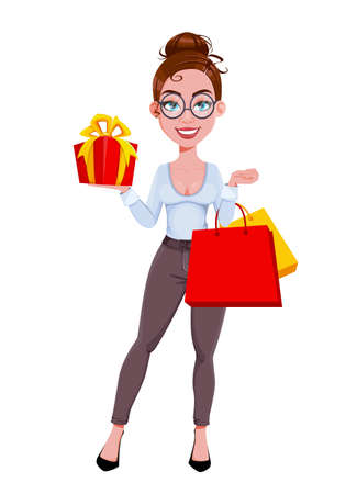 Stock vector. Young beautiful business woman went shopping. Cute businesswoman cartoon character in flat style. Vector illustration Illusztráció