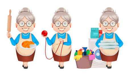 Grandma cartoon character, set of three poses. 8 March, Happy Grandparents Day. Old cute woman. Vector illustration on white background Illusztráció
