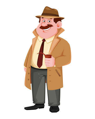 Stock vector detective character holding smoking pipe. Investigator cartoon character. Vector illustration.