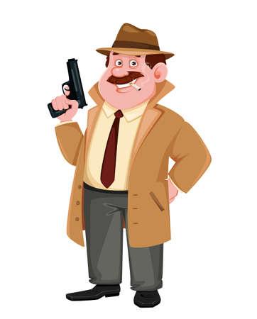 Stock vector detective character holding a gun. Investigator cartoon character. Vector illustration. Illusztráció