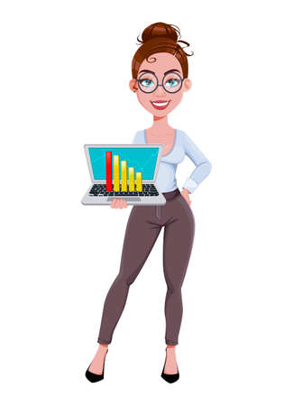 Stock vector. Young beautiful business woman holds laptop. Cute businesswoman cartoon character in flat style. Vector illustration Illusztráció