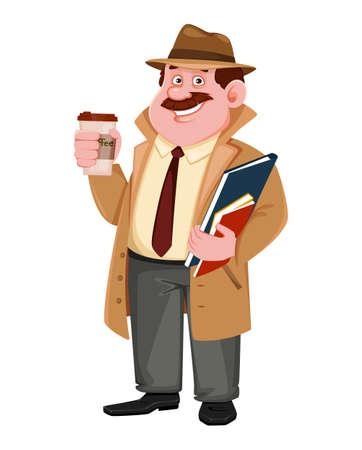 Stock vector detective character having a coffee break. Investigator cartoon character. Vector illustration.