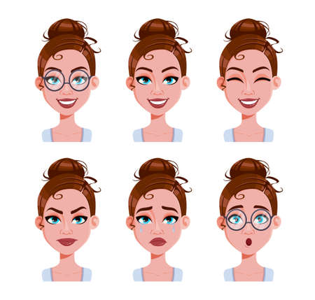 Stock vector. Face expressions of woman with brown hair. Different female emotions set. Beautiful cartoon character in flat style. Vector illustration Vettoriali