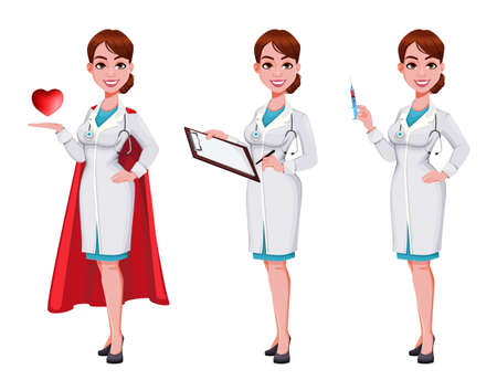 Stock vector cheerful doctor cartoon character, set of three poses. Beautiful young woman doctor. Vector illustration on white background Vecteurs