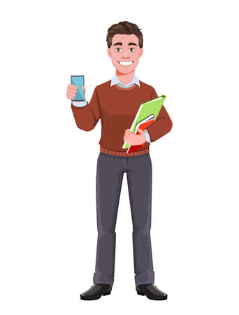Stock vector successful business man holding smartphone. Manager character design. Ilustración de vector