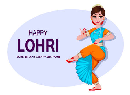 Happy Lohri greeting card with beautiful Indian girl. Punjabi traditional Festival. Stock vector illustration