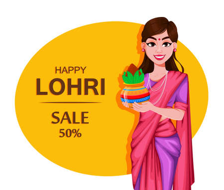 Happy Lohri greeting card with beautiful Indian girl. Punjabi traditional Festival. Stock vector illustration for sale