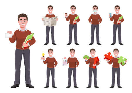 Stock vector successful business man, set of nine poses. Manager character design. Flat style vector illustration isolated on white