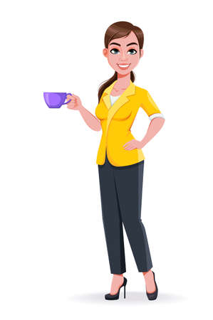 Young beautiful business woman holding a cup of coffee. Cute businesswoman cartoon character in flat style. Stock vector illustration