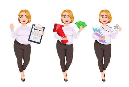 Young plus size pretty woman. Beautiful overweight businesswoman, set of three poses. Stock vector illustration