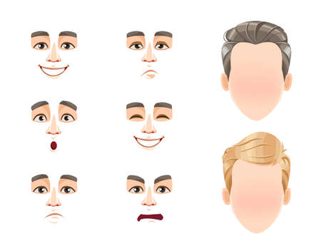 Different male emotions set. Blank faces and expressions of man with brown and blond hair. Choose emotions you need. Stock vector illustration 일러스트