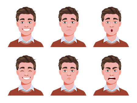 Face expressions of handsome man. Different male emotions set. Young guy cartoon character. Stock vector illustration
