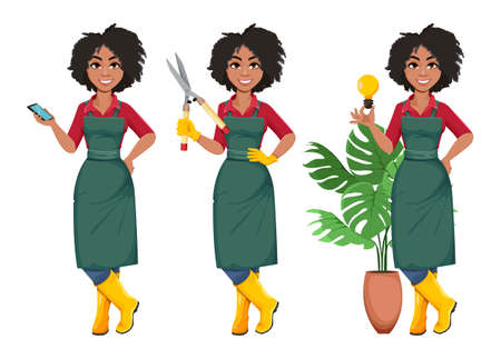 Stock vector young African American gardener woman, set of three poses. Beautiful lady farmer cartoon character in professional uniform 일러스트