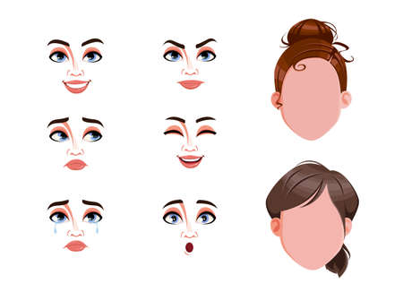 Different female emotions set. Blank faces and expressions of woman. Choose emotions you need. Stock vector illustration on white background