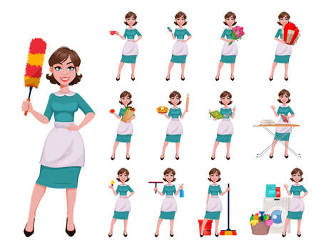 Young happy housekeeper, mother, beautiful successful woman. Cheerful lady, housewife in apron, set of thirteen poses. Stock vector illustration