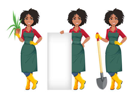 Stock vector young African American gardener woman, set of three poses. Beautiful lady farmer cartoon character on white background