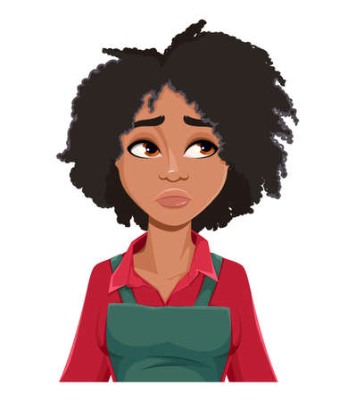 Stock vector. Face expression of beautiful African American woman gardener, upset. Female emotion. Cute lady farmer cartoon character in flat style. Vector illustration