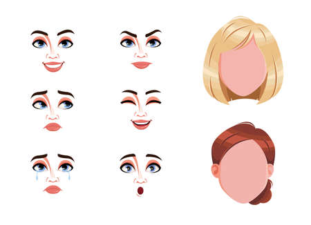 Different female emotions set. Blank faces and expressions of woman with brown and blond hair. Choose emotions you need. Stock vector illustration