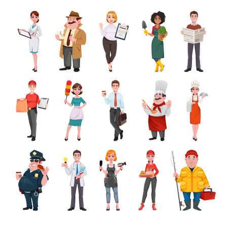 Stock vector successful people of different professions. Men and women of various occupations 일러스트