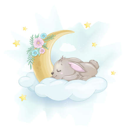 Cute little rabbit sleeping on a cloud. Usable for Easter greeting card. Pretty bunny cartoon character. Stock vector illustration 일러스트