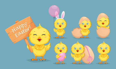 Cute little chick, set of seven poses. Happy Easter. Funny baby chicken cartoon character. Stock vector illustration